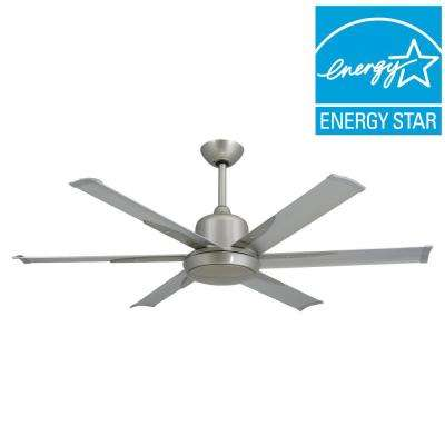 DC-6 52 in. Indoor/Outdoor Brushed Nickel Ceiling Fan and Light