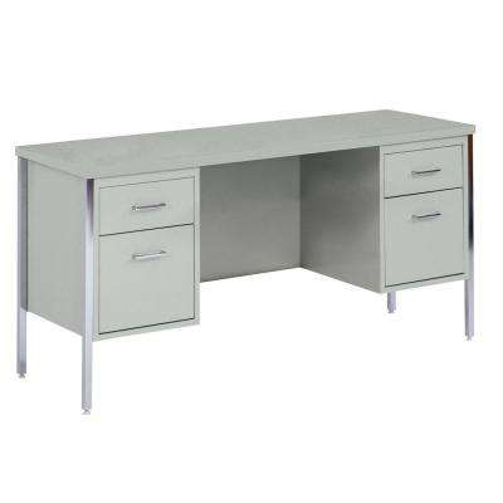 400 Series Double Pedestal Credenza Steel Desk in Gray