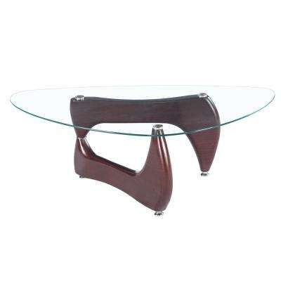 Noguchi Style Glass Coffee Table with Brown Gloss Legs