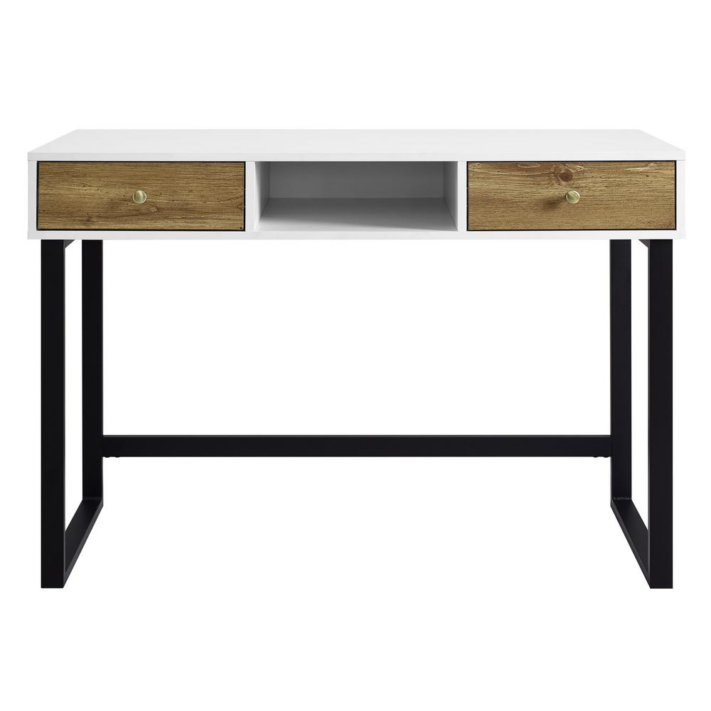 White And Barnwood Modern 2 Tone Desk With Drawers