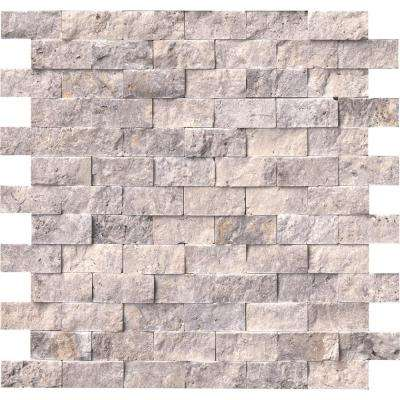 Silver Travertine Split Face 12 in. x 12 in. x 10 mm Travertine Mesh-Mounted Mosaic Tile (10 sq. ft. / case)