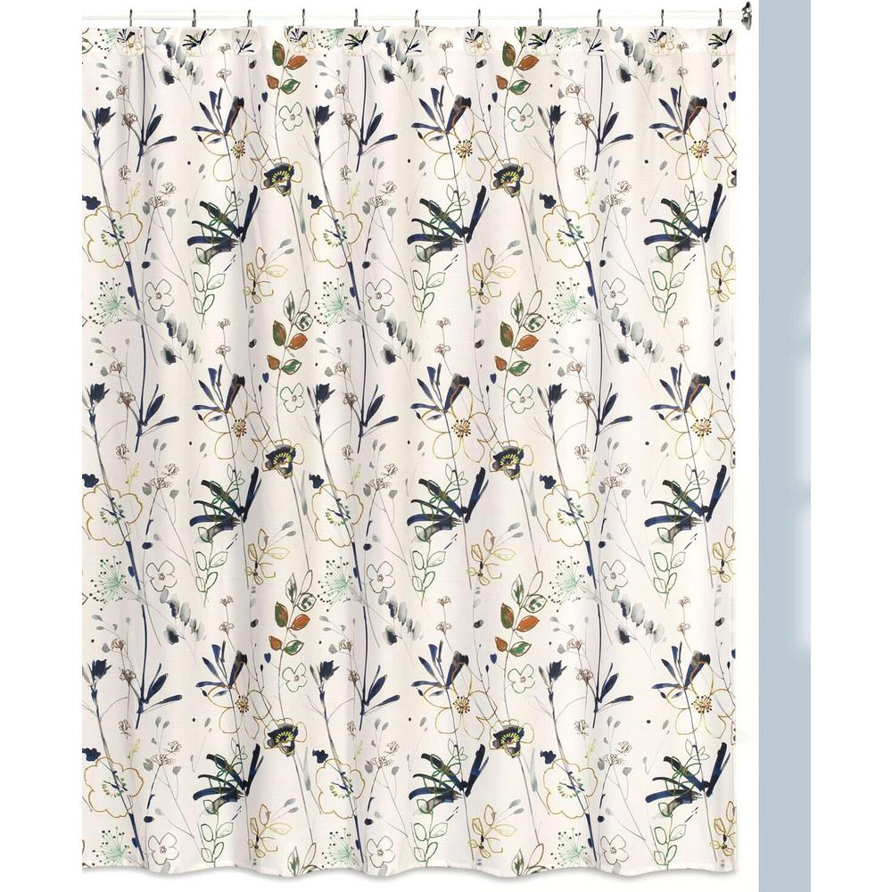 Primavera Floral Print Shower Curtain Hooks Bath Rug Set