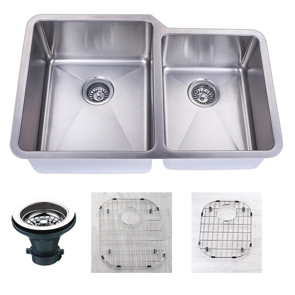 Empire Industries Premium Undermount 18-Gauge Stainless Steel 32 in. 55/45 Double Bowl Kitchen Sink with Grid and Strainer, Satin was $275.0 now $185.12 (33.0% off)
