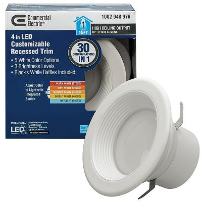 4 in. Selectable Integrated LED Recessed Trim Downlight 30 Configurations in One Fixture High Ceiling Output Dimmable