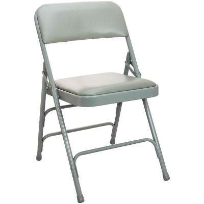 1 in. Dove Grey Vinyl Seat Padded Metal Folding Chair