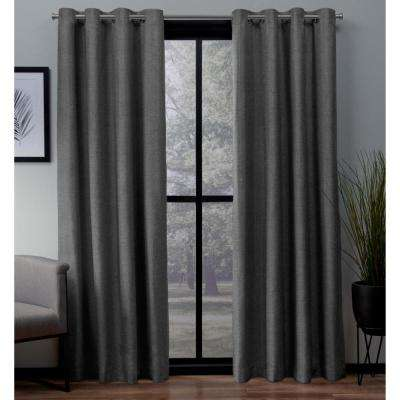 London 54 in. W x 96 in. L Woven Blackout Grommet Top Curtain Panel in Charcoal (2 Panels)