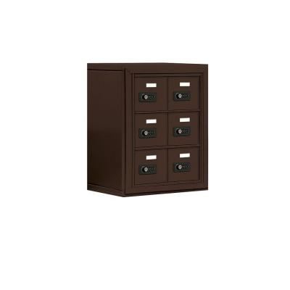 19000 Series 17.5 in. W x 20 in. H x 9.25 in. D 6 A Doors S-Mount Resettable Locks Cell Phone Locker in Bronze