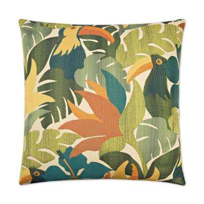 Parrots of Caribbean Feather Down 24 in. x 24 in. Standard Decorative Throw Pillow