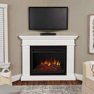 Kennedy Grand 56 in. Corner Electric Fireplace in Dark White