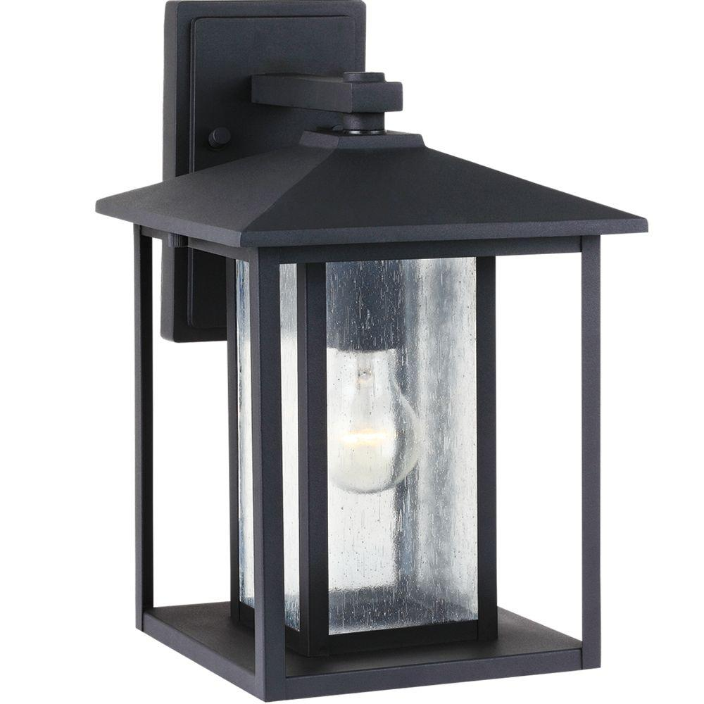 Sea Gull Lighting Hunnington 14 in. H 1-Light Outdoor Black Wall Lantern Sconce with Clear Seeded Glass Panels