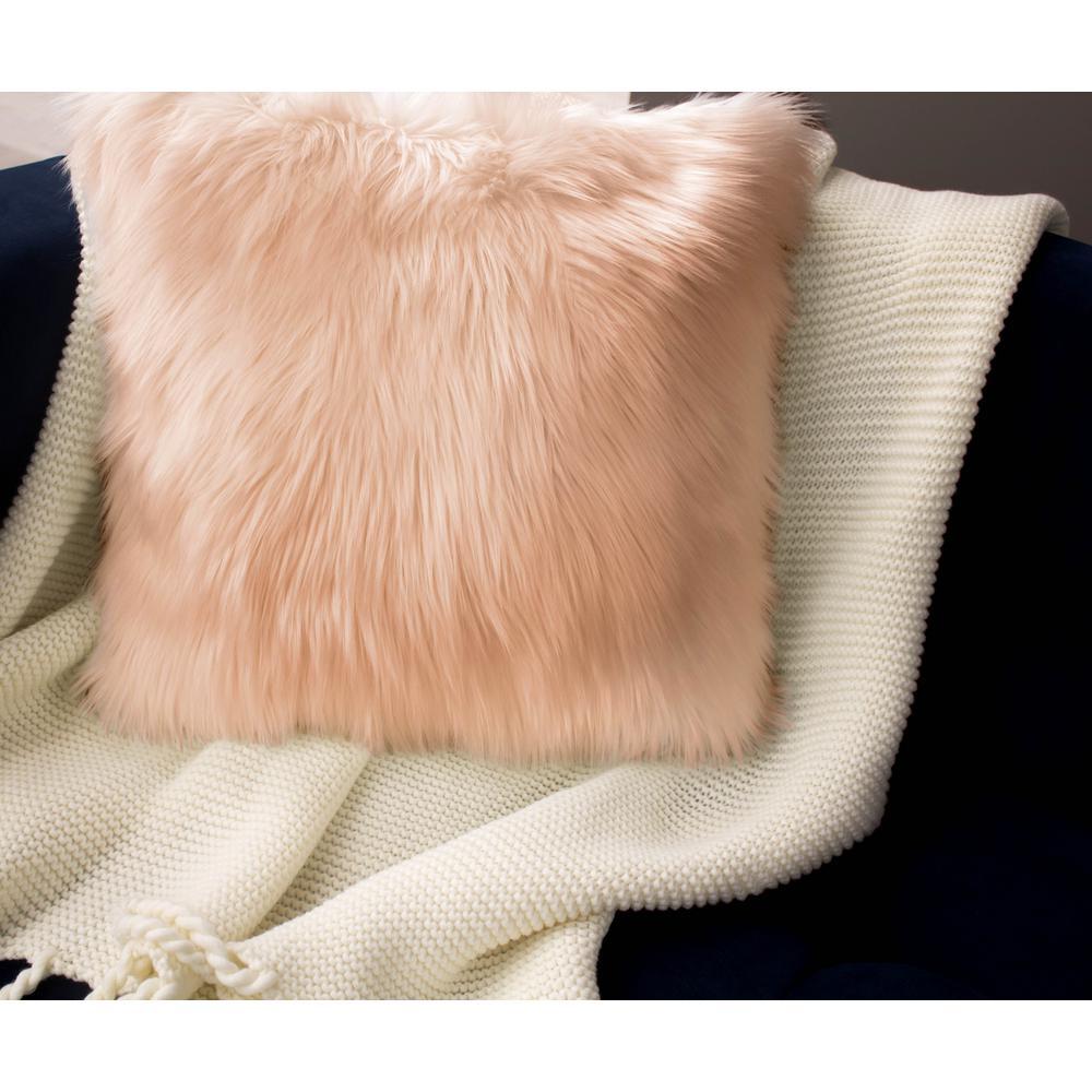 Jean Pierre Faux Fur 2-Piece Decorative Pillow Set in Blush by Jean Pierre