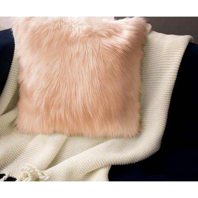 Faux Fur 2-Piece Decorative Pillow Set in Blush