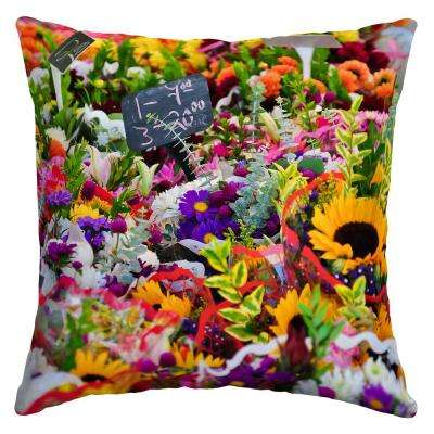 Flower Market Square Outdoor Throw Pillow