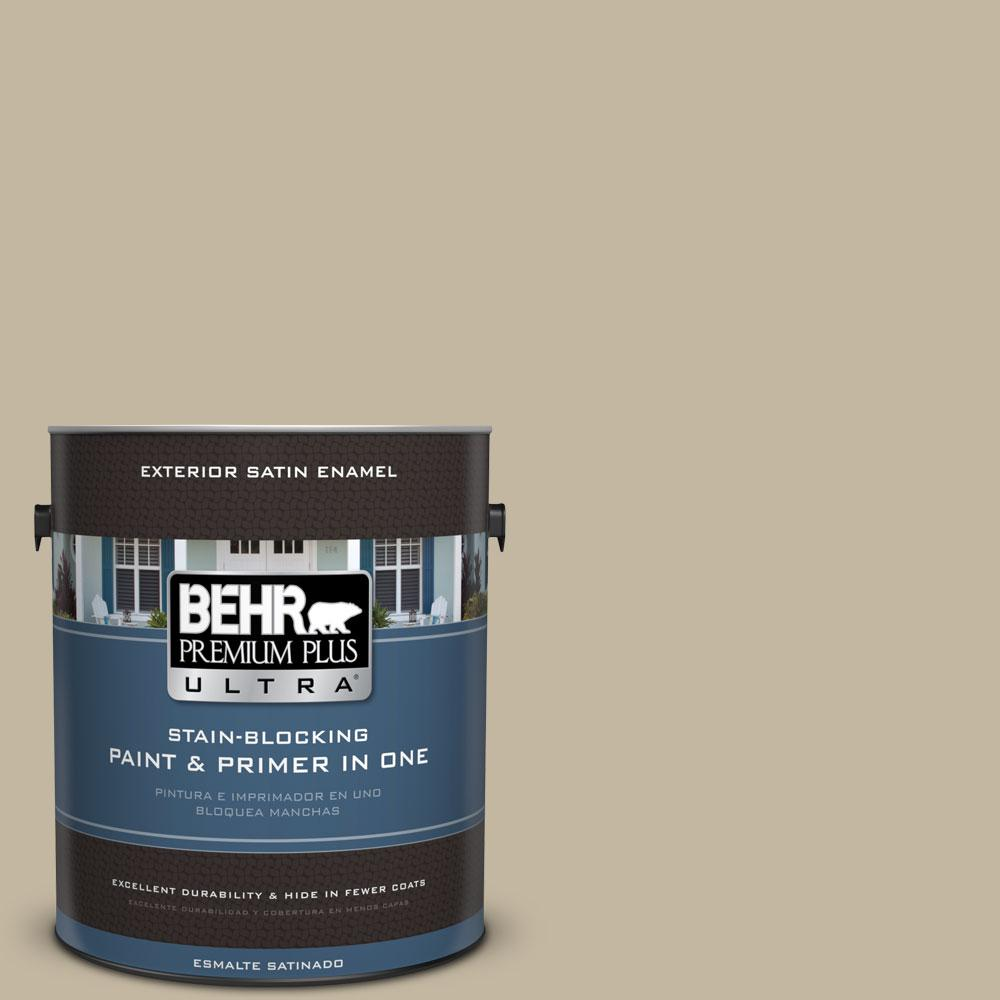 BEHR Premium Plus Ultra Home Decorators Collection 1-gal. #HDC-NT-09 Basic Khaki Satin Enamel Exterior Paint