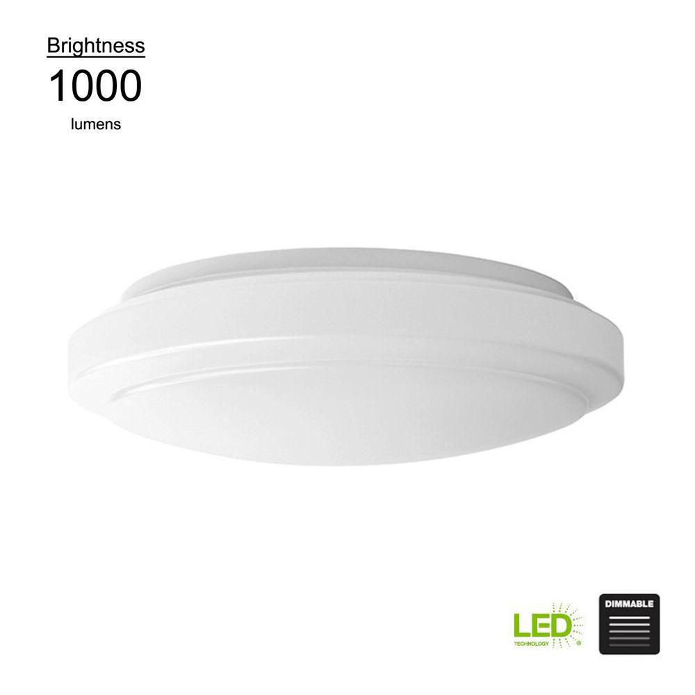 Hampton Bay Functional Style 12 In Round White 75 Watt Equivalent Integrated Led Flushmount