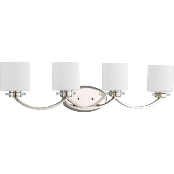 Nisse Collection 4-Light Polished Nickel Bathroom Vanity Light with Glass Shades