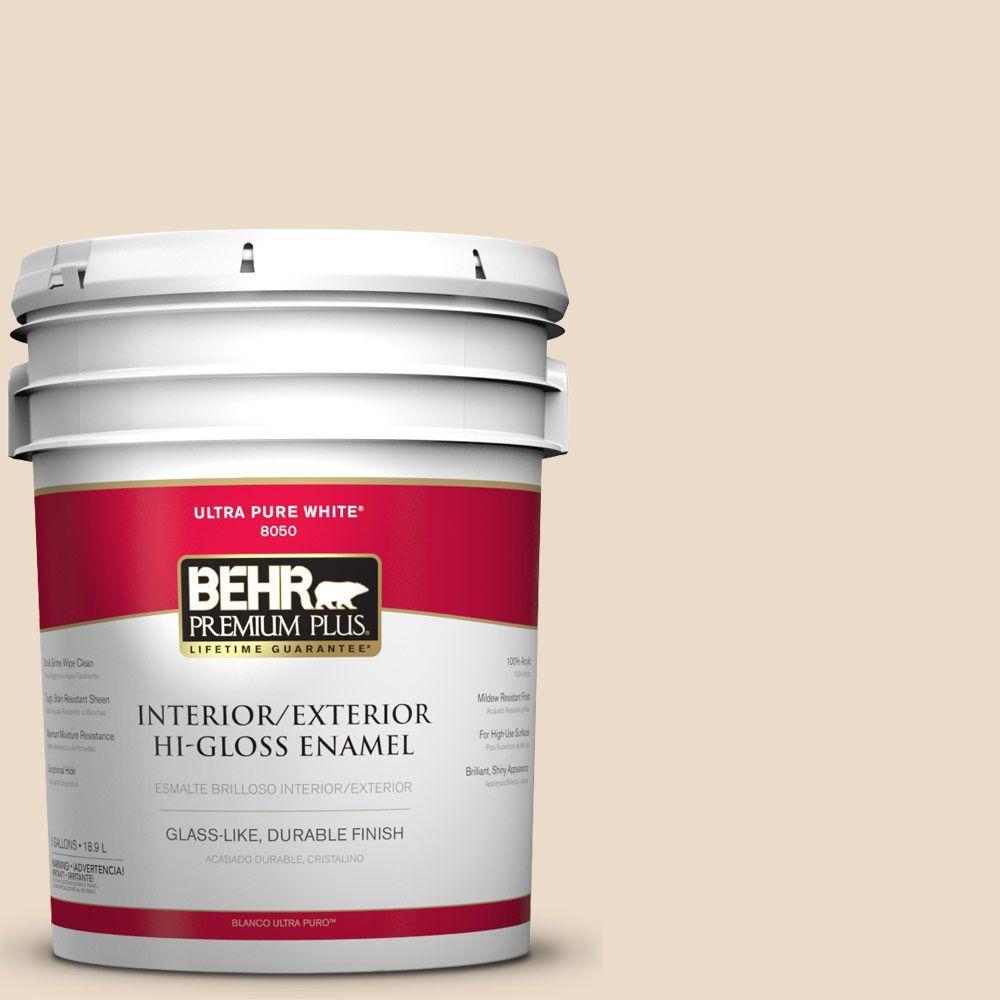 BEHR Premium Plus 5-gal. #N260-1 Vanilla Mocha Hi-Gloss Enamel Interior/Exterior Paint