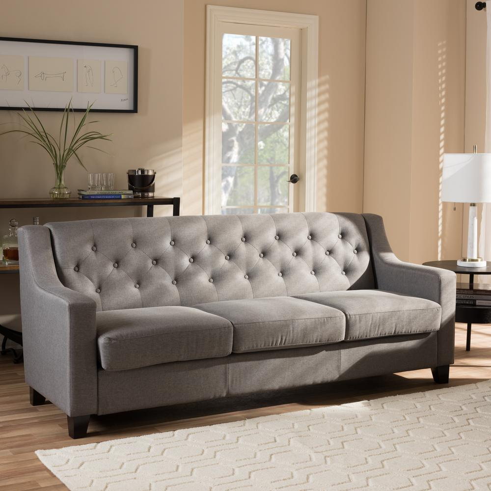Baxton Studio Arcadia Contemporary Gray Fabric Upholstered Sofa