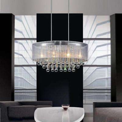 Radiant 6-Light Chrome Chandelier with White Shade