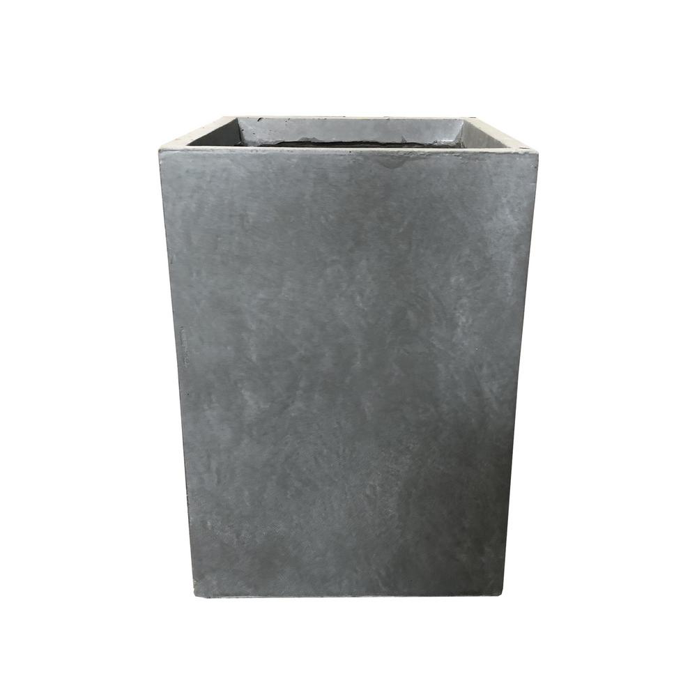 KANTE Large 19 in. Tall Slate Gray Lightweight Concrete Square Outdoor Planter