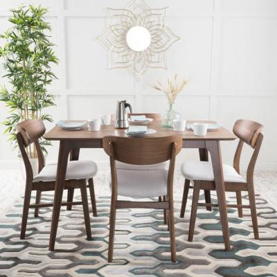 Lucious 5-Piece Light Beige and Natural Walnut Dining Set