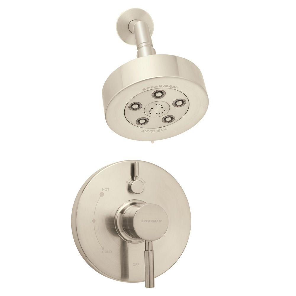 Speakman Neo Single-Handle 3-Spray Pressure Balance Valve and Trim in Shower Faucet Combination in Brushed Nickel