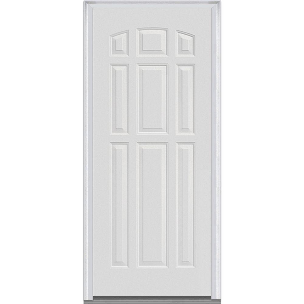 Mmi door 36 in x 80 in severe weather left hand outswing 9 panel primed fiberglass smooth 36 x 80 outswing exterior door