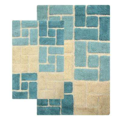 Berkeley 21 in. x 34 in. and 24 in. x 40 in. 2-Piece Bath Rug Set in Aquamarine