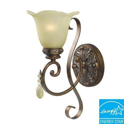 Catania Collection 1-Light Oxide Bronze with Silver Sconce