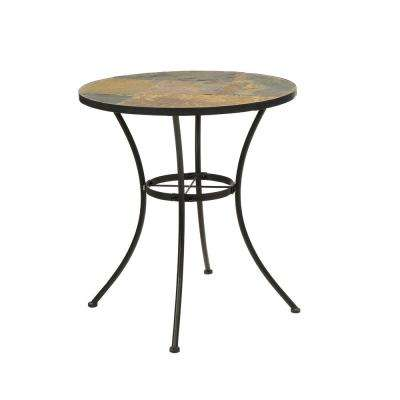 Wales Stone Collection 27 in. Black Slate Top Round table