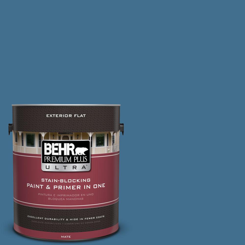 BEHR Premium Plus Ultra 1-gal. #M500-5 Sojourn Blue Flat Exterior Paint