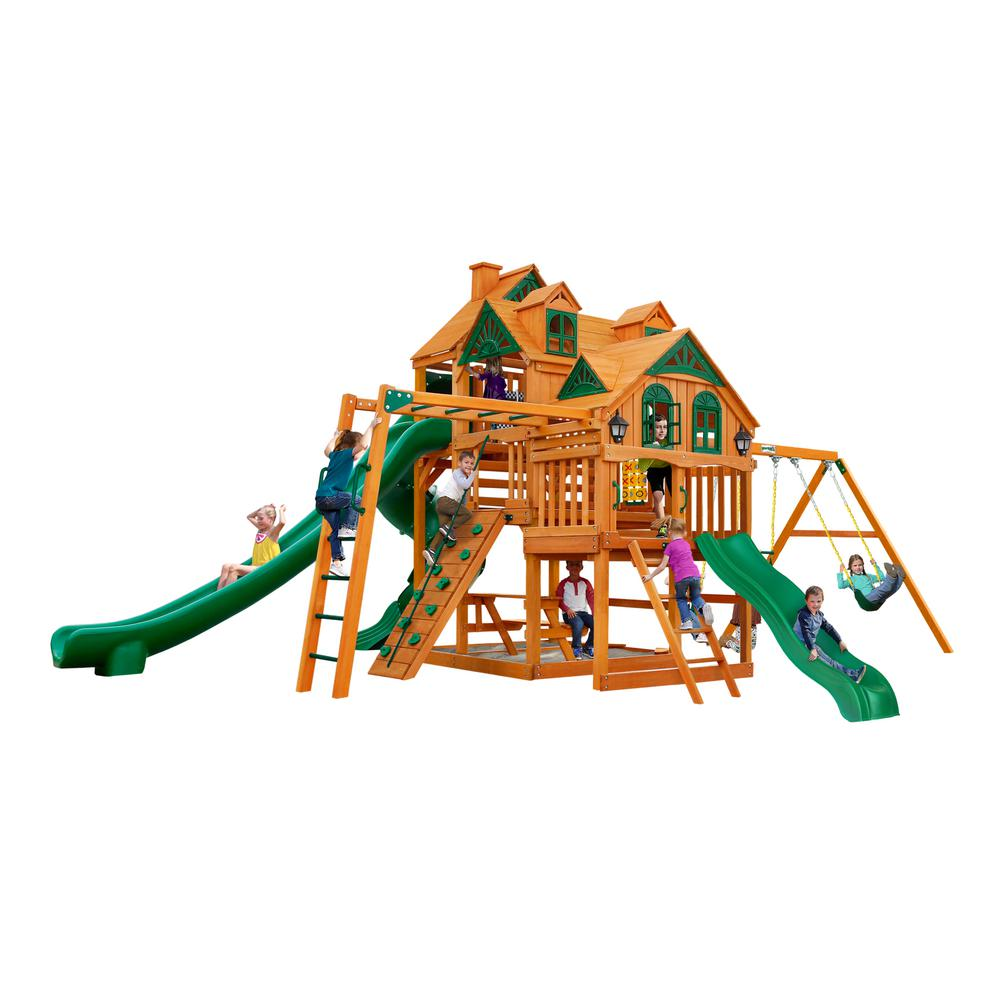 Gorilla Playsets Empire Wooden Swing Set with Monkey Bars and 3 Slides