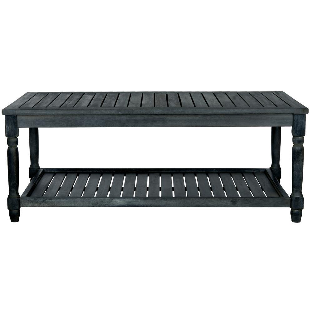 Oakley Dark Slate Grey Wood Outdoor Coffee Table