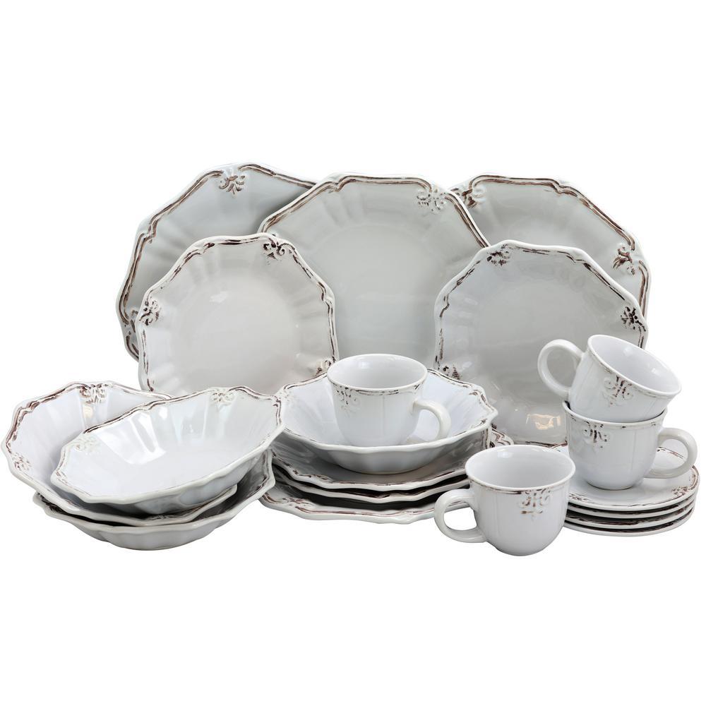Elama Fleur De Lys 20-Piece White Dinnerware Set 985102840M