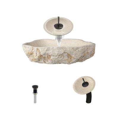 Stone Vessel Sink in Galaga Beige Marble with Waterfall Faucet and Pop-Up Drain in Antique Bronze
