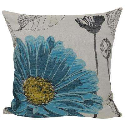 18 in. x 18 in. Blue Flower Embroidery Collection with Feather Filled Pillow