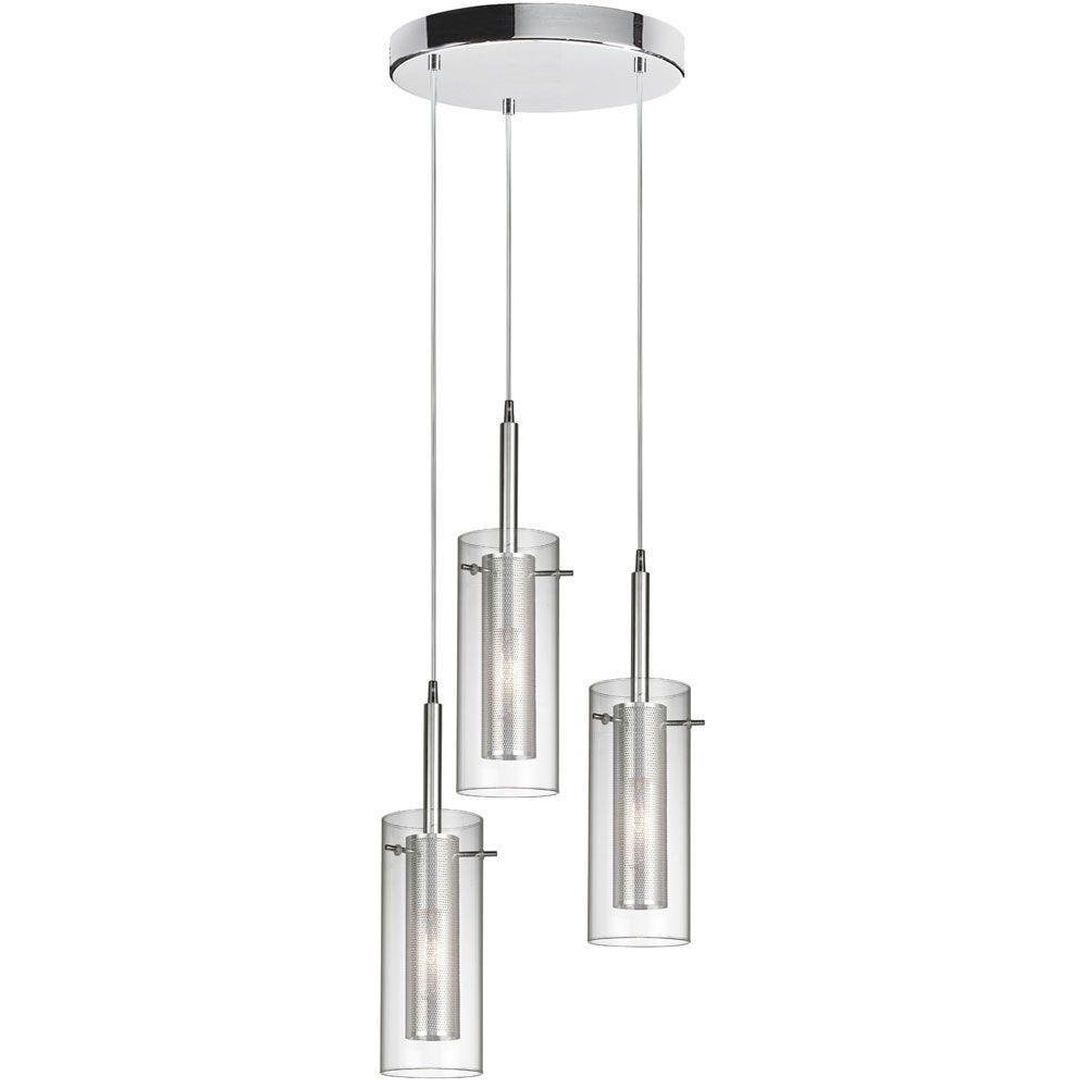 Radionic Hi Tech Nella 3-Light Polished Chrome Round Pendant with Clear Glass/Steel Mesh