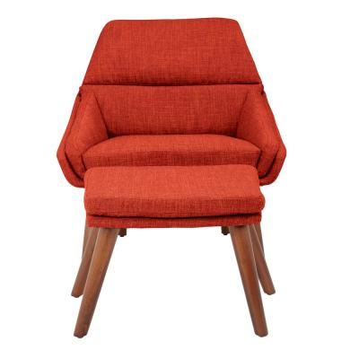 Bendal Tangerine Fabric Chair and Ottoman with Coffee Legs