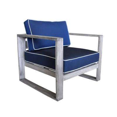 North Shore Collection Teak Outdoor Lounge Chair with Navy Cushions