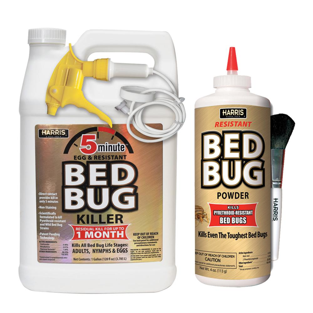 Harris 5 Minute Bed Bug Killer Gallon And Resistant Bed Bug Powder 4 Oz Pro Pack Goldpropack The Home Depot