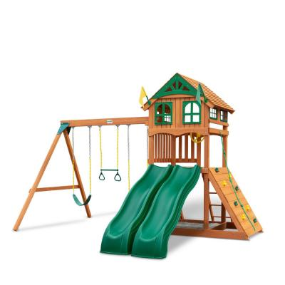 DIY Outing III Wooden Playset with Wood Roof, 2 Wave Slides and Sandbox Area