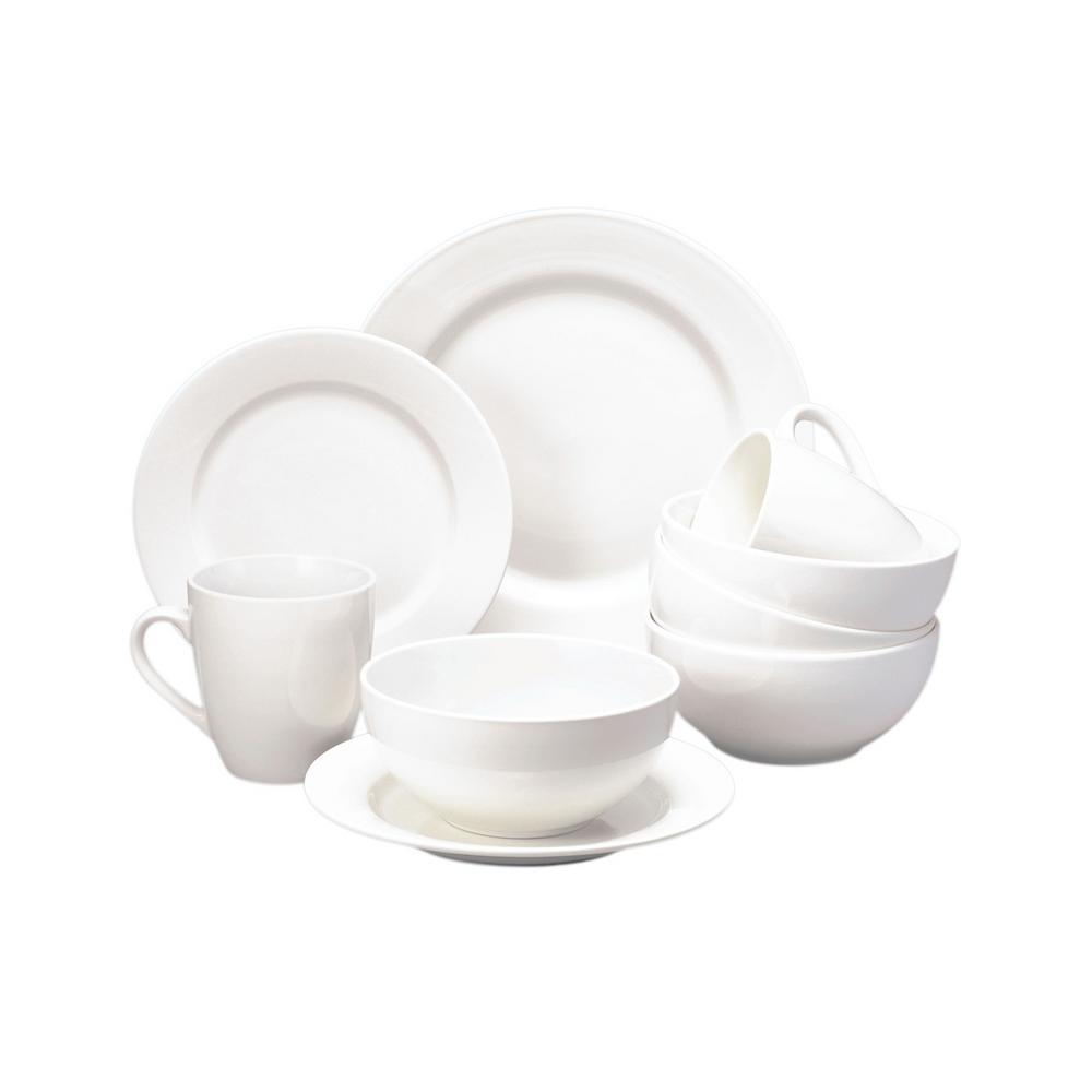 Basic White Stoneware Dinner Plate Set