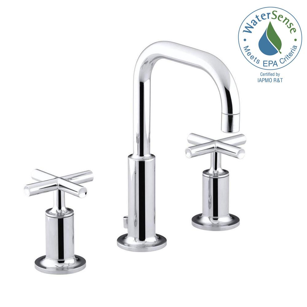 Purist 8 in. Widespread 2-Handle Bathroom Faucet in Polished Chrome with