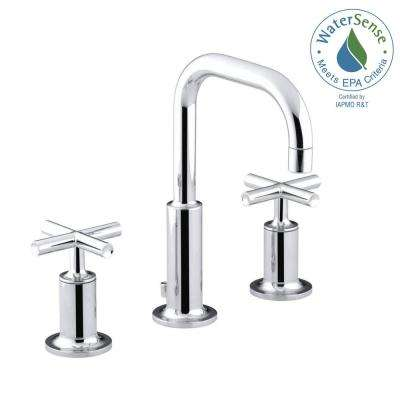 Purist 8 in. Widespread 2-Handle Bathroom Faucet in Polished Chrome with Low Gooseneck Spout