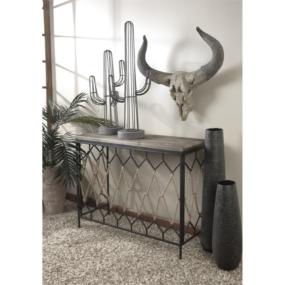 Grey Metal Saguaro Cactus Table Decor