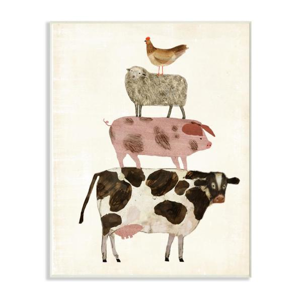 10 In X 15 In Cow Sheep Pig And Chicken Farm Animals By Artist Victoria Borges Wood Wall Art