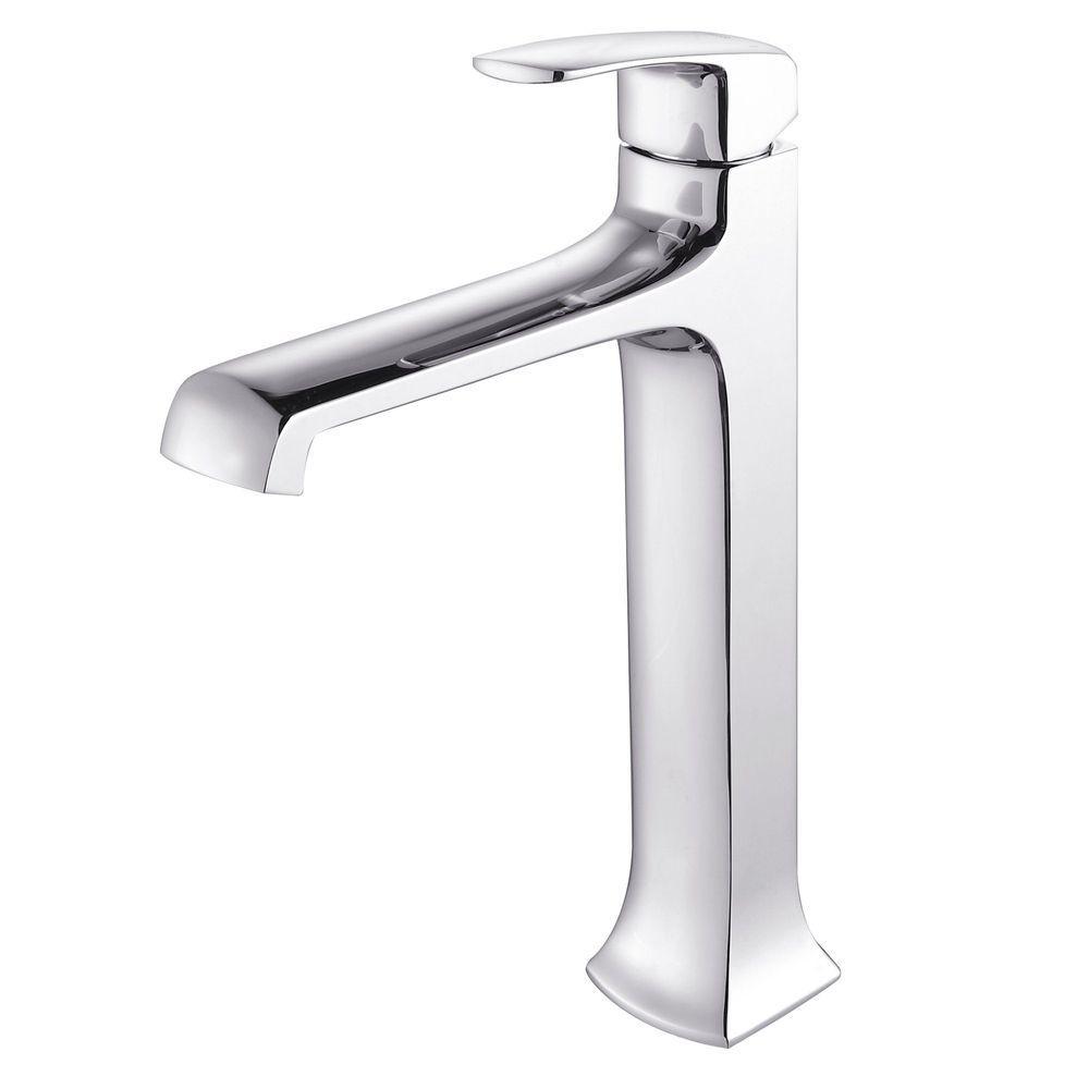 KRAUS Decorum Single Hole 1-Handle High Arc Bathroom Vessel Faucet in Chrome
