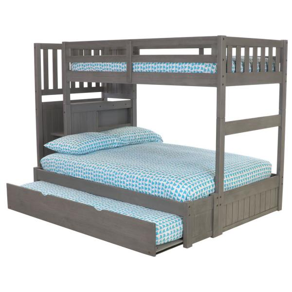 American Furniture Classics Charcoal Twin over Full Solid Wood Staircase Bunkbed