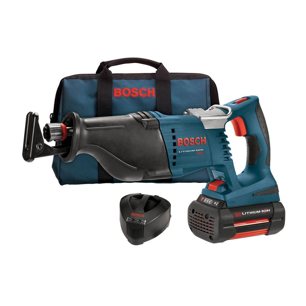 bosch 36 volt lithium ion cordless electric variable speed reciprocating saw with 4 0 ah battery. Black Bedroom Furniture Sets. Home Design Ideas
