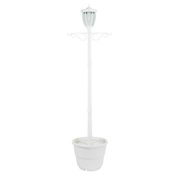 Kenwick 1-Light Outdoor White Integrated LED Lamp Post and Planter